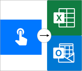 Manually trigger a flow, Excel Online, and Outlook connection