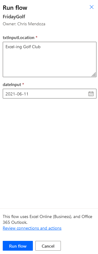 Run Flow with inputted data